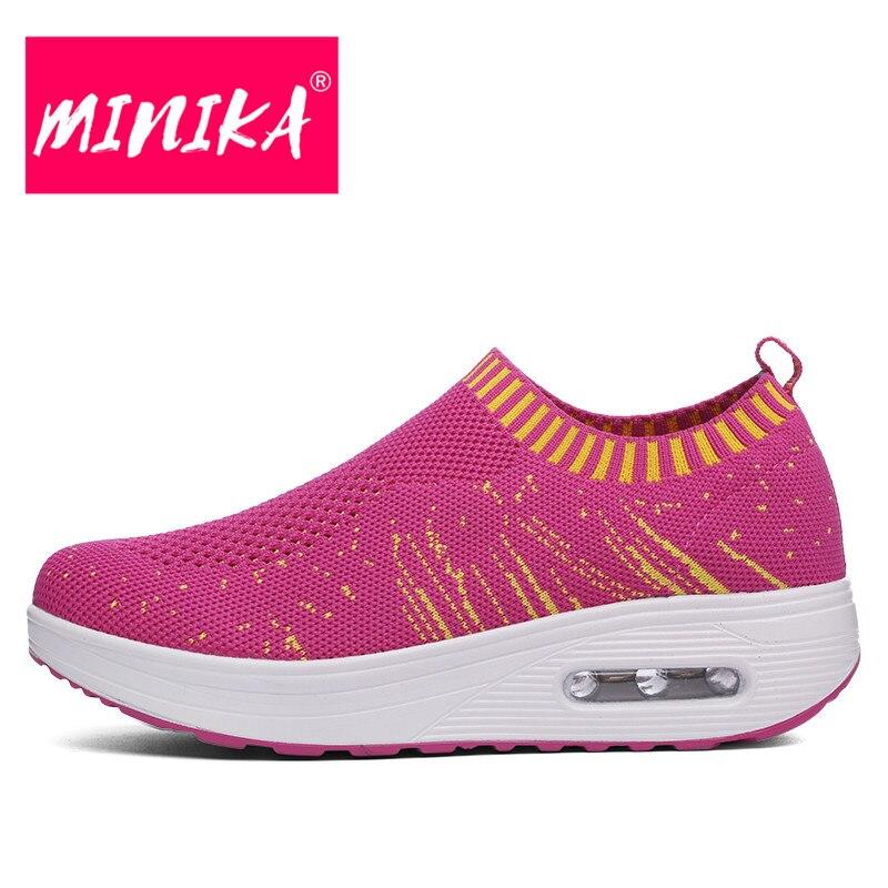 Minika Spring & & & Autumn Damens Flat Schuhes Breathable Shallow Damens Mesh Schuhes Swin 500fef