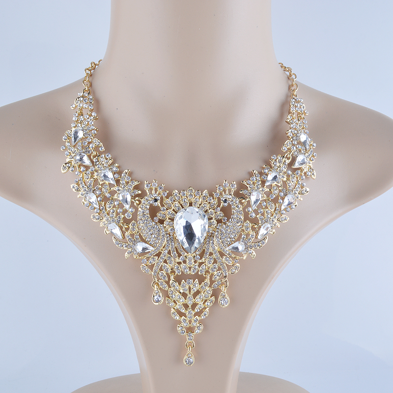 plated rhinestone necklace rich earrings sets product products image jewelry gold long