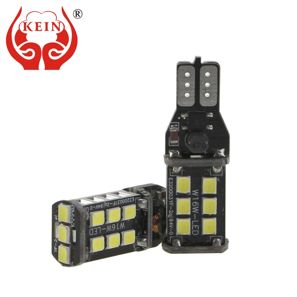 KEIN 2PCS Pure White T15 w16w Canbus Error Free 15SMD 2835 Reverse Lights Parking Signal Lamp 6000K 12V for Mazda indicator Bulb 2pcs brand new high quality superb error free 5050 smd 360 degrees led backup reverse light bulbs t15 for jeep grand cherokee