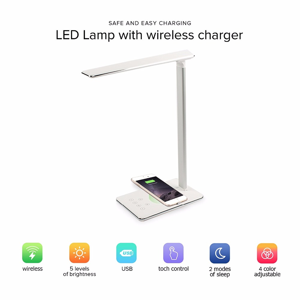 New Wireless Charger pad for iPhone X Samsung S8 S9 and USB Charging 5W LED Eye Protect reading table lamp Touch Control switch