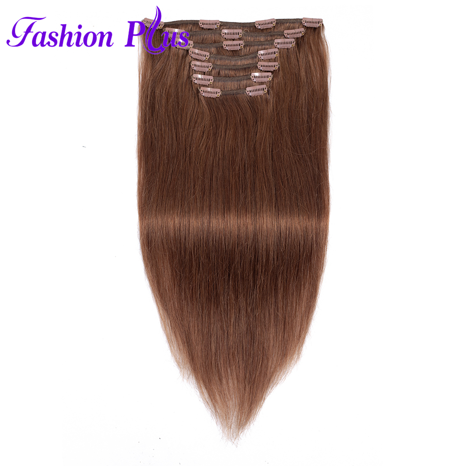 Hair-Machine Human-Hair-Extensions Clip-In Nature Double-Drawn Straight 120g Made Full-Head