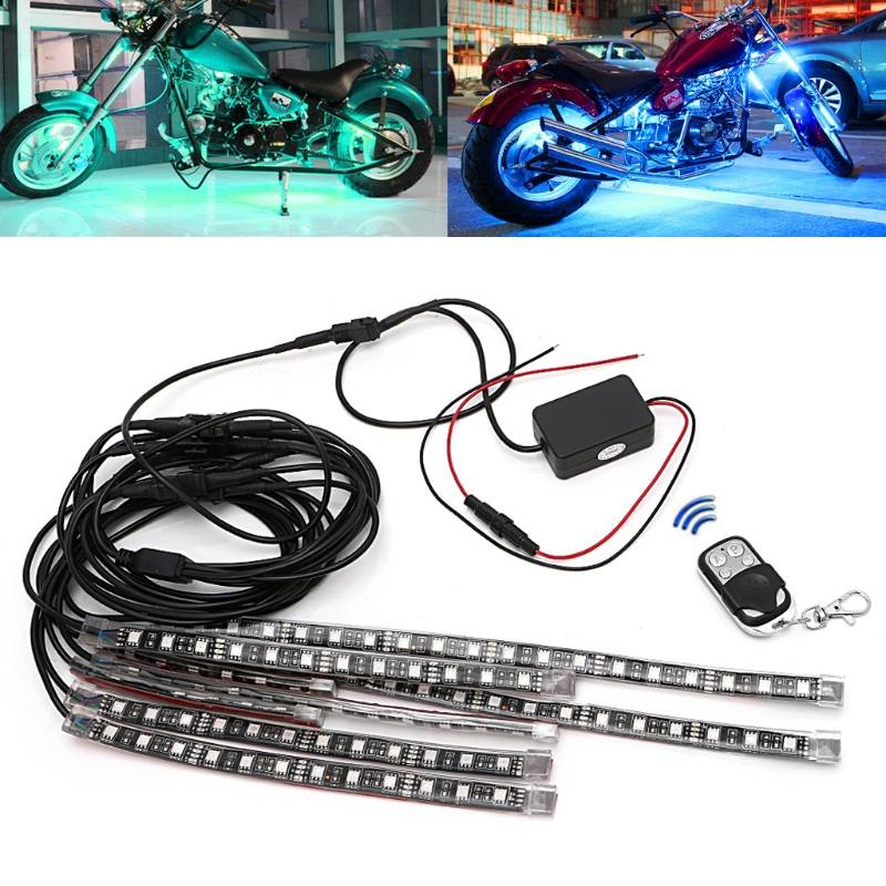 8 Pcs Motorcycle decoration 5050 SMD Strip Flexible RGB Flashing Light LED With Remote Control For Motorcycle Deco light sencart 3 led rgb light motorcycle car decoration handle lamp silver black 3 x lr44 2 pcs