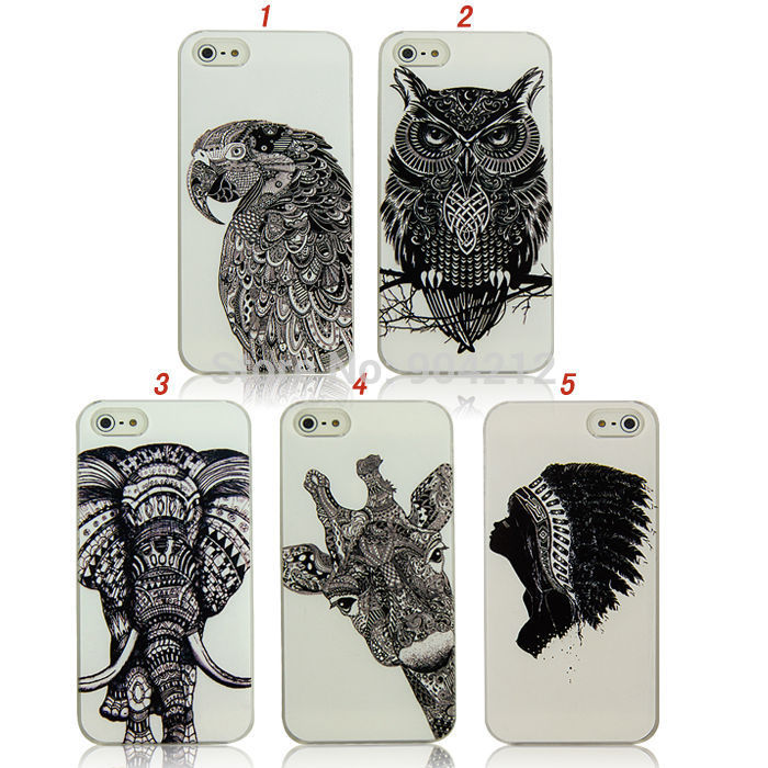 tribal-girl-cute-owl-bird-animal-elephant-giraffe-hard-plastic-case-cover-for-iphone-fontb5-b-font-5