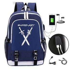 Image 5 - Spada Arte Online zaino 2019 Trendy usb del computer portatile del sacchetto di scuola per adolescenti bookbag Kirito cosplay Oxford Zaini di viaggio