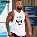 2017 Tank Tops Sleeveless Vest TOP Undershirt casual fitness Mens casual Cotton print Bodybuilding European Size M-2XL