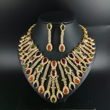 New fashion wedding necklace earring set Luxury colorful droplet zircon bride dressing dinner ball party jewelry,free shipping цена