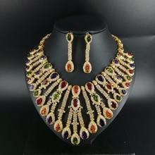 купить New fashion wedding necklace earring set Luxury colorful droplet zircon bride dressing dinner ball party jewelry,free shipping дешево