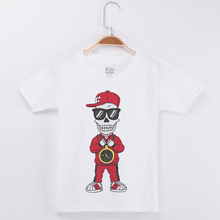 цена на Baby Boy T Shirts Funny T-Shirt Cotton O-Neck White Half Sleeve Kids Tees Shirt Skull Skeleton Print Fashion Hip Hop Girl Tshirt