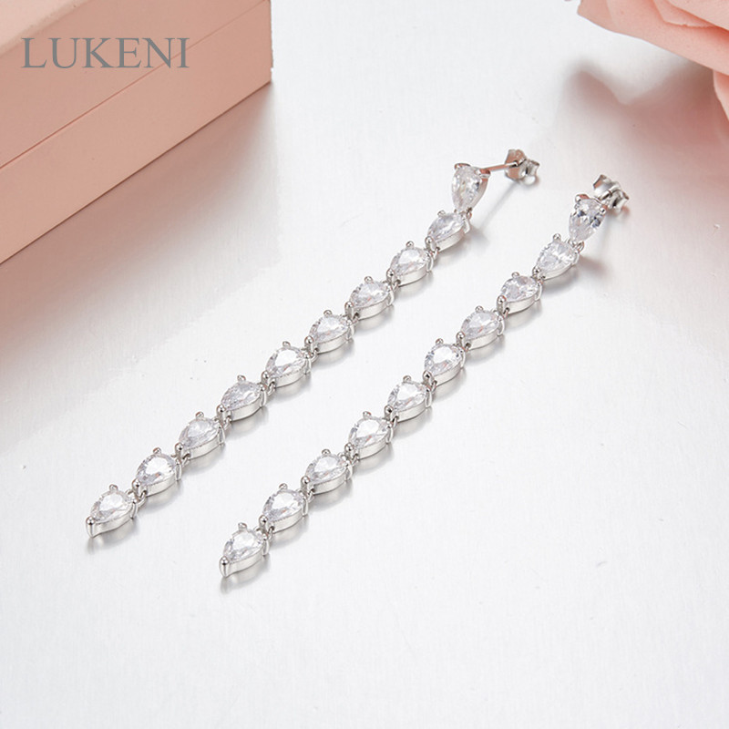 LUKENI NEW Design Personality 925 Sterling Silver Inlay Zircon Pendant Earrings For Women Fashion Jewelry