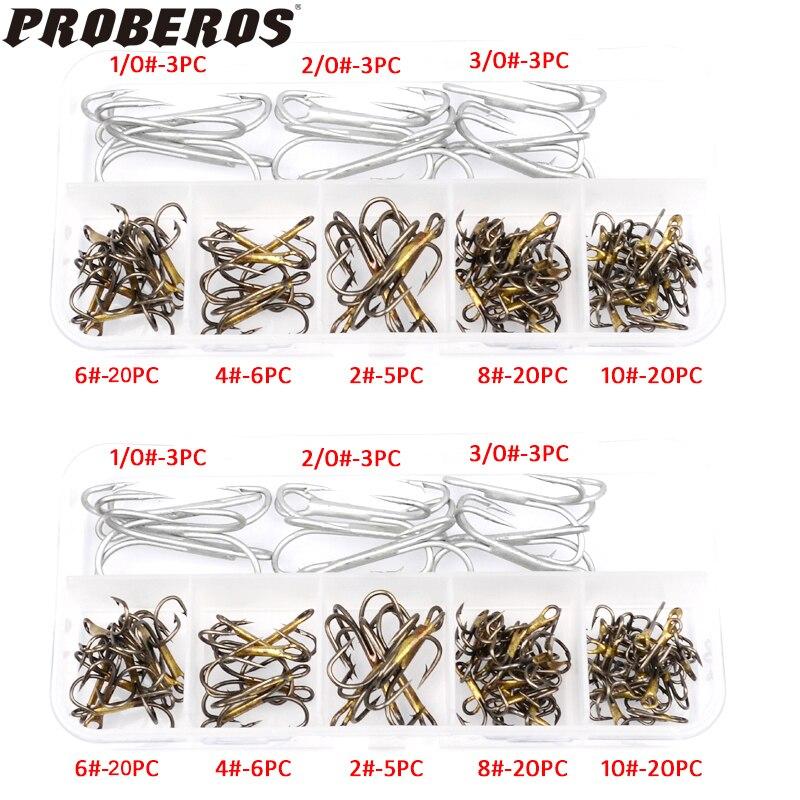 New 80Pcs/Box fishing tackle Mixed Size 1/0-2/0-3-0-2/4/6/8/10 Fishing Hook High Qulity Brown Color Jig Big Hook Treble Hooks