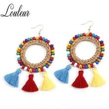 Weave Resin Beads Tassel Earrings for Female Acrylic Dangle boucles doreilles pour les femmes Best Gifts Women