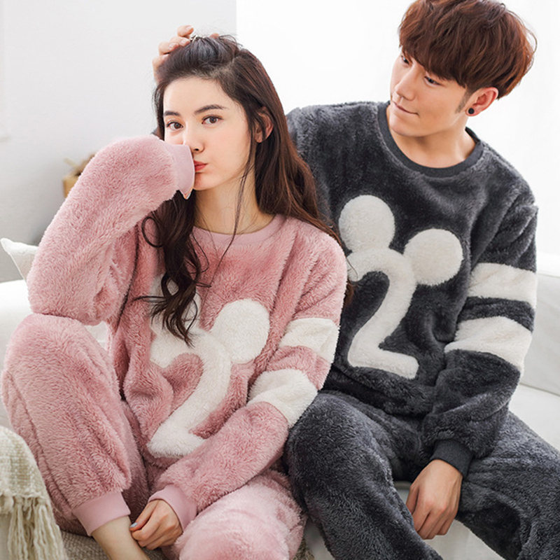 warm couples autumn Home Clothing Coral Fleece Pjamas women man Flannel Pajamas Sets winter Nightwear Suit loose comfortable long sleeve cartoon bear thick flannel maternity clothing pajamas sets breast feeding home wear nightwear factory price