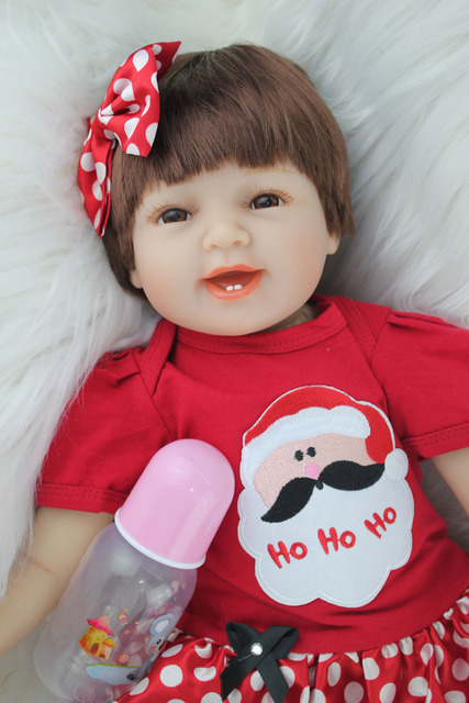 55cm Silicone Reborn Smile Baby Girl Doll Toys Like Real 22inch Princess Newborn Babies Dolls Child