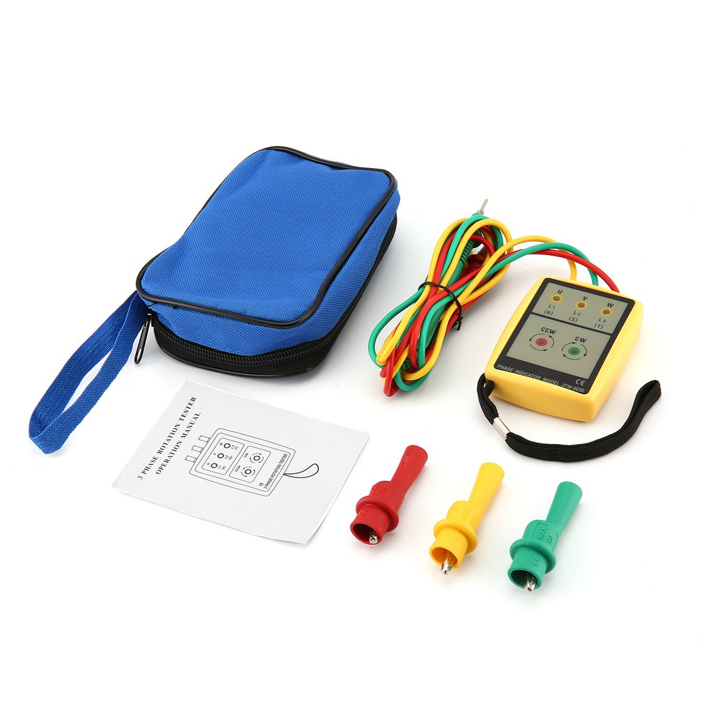 JTW JTW-8030 Portable 3 Phase Sequence Meter Multimeter Presence Rotation Tester Phase Indicator Detector Meter LED Buzzer