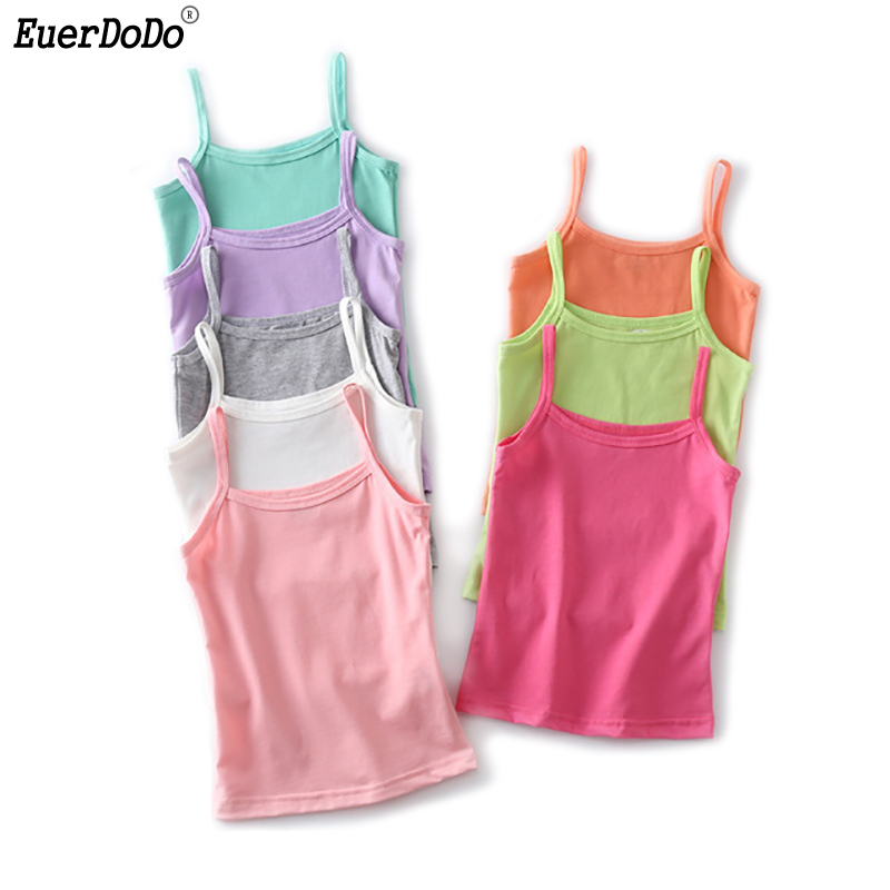 Cotton Girls Vest Colored Kids Camisole Children Tops Summer Baby Singlet Girls Undershirts Teenager Tank(China)