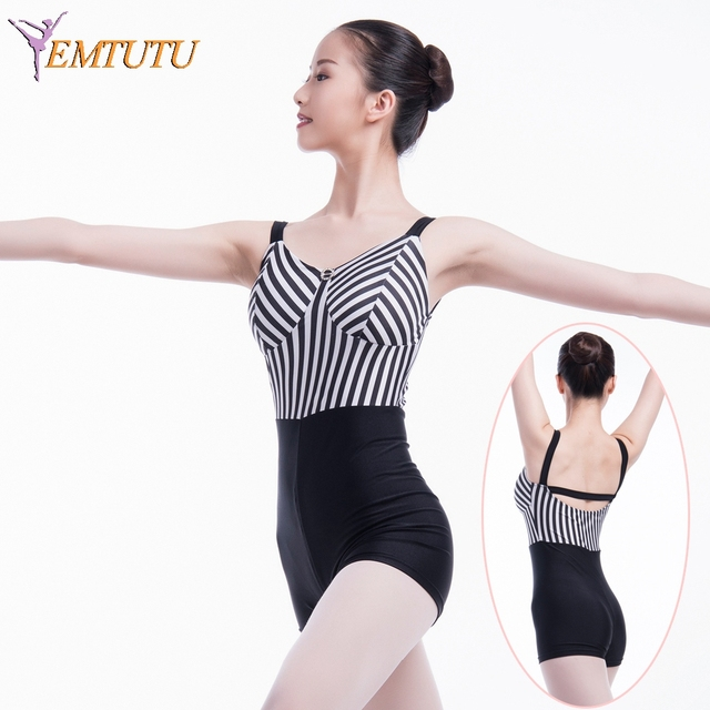 5da698ab9e08 Lycra Ballet Dance Short Unitard Gymnastics Leotard Black White Women Adult Ballet  Jumpsuit Girls Bra Inserted Dance Bodysuit