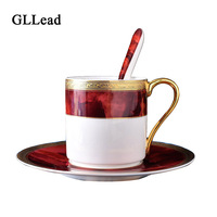 GLLead New Style Bone China Coffee Cup Saucer Set Flower Tea Cups Office Milk Teacup Porcelain Holiday Gift