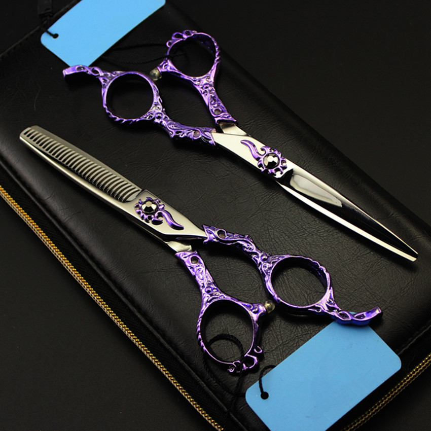 Upscale Professional japan 440c 6 inch Retro purple hair scissors cutting barber make up thinning shears hairdressing scissors купить