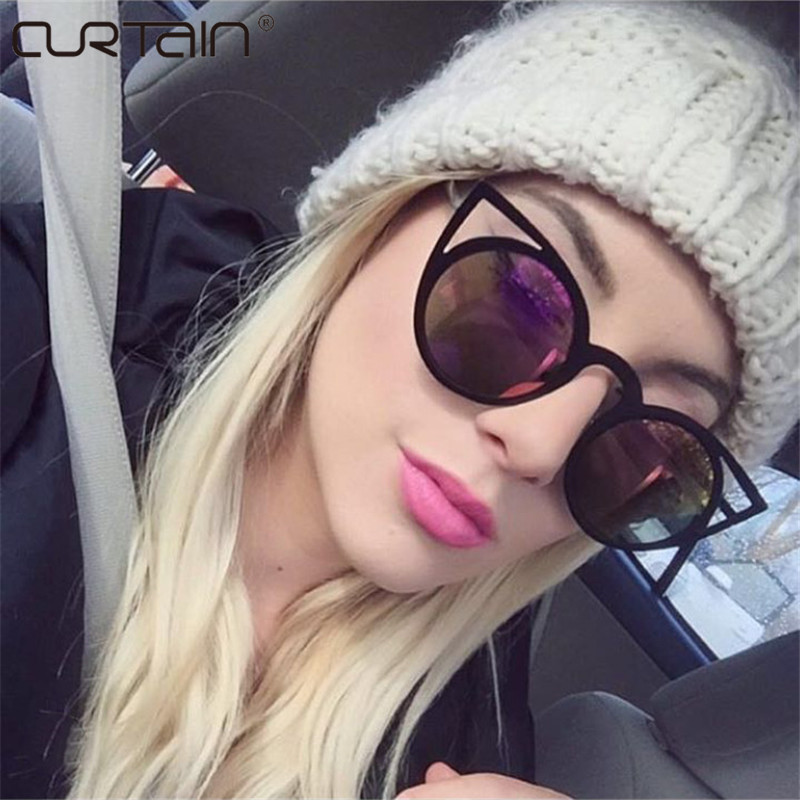CURTAIN 2017 New Women Sunglasses Vintage Cat Eye Sun glasses Metal Eyeglasses Frames Mirror Shades Sexy Sunnies