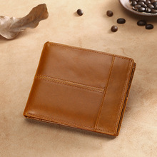 High Quality Genuine Leather Wallet Men Brand Fashion Short Purses Male Gift Id Credit Card Holder Slim Bifold Wallet Men Luxury tucano luxury genuine leather men wallet brand business male slim bifold pocket purse credit card holder wallet