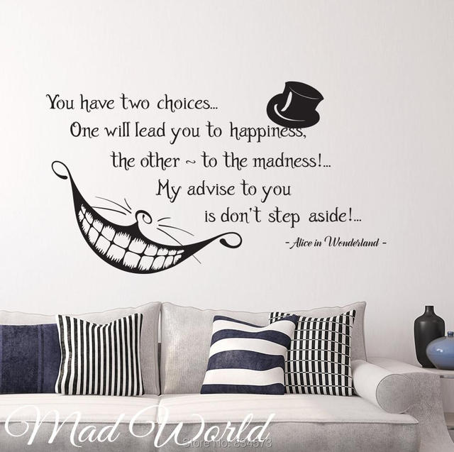 Wonderful Mad World Alice In Wonderland Smile Quote Wall Art Stickers Decal Home DIY  Decoration Wall