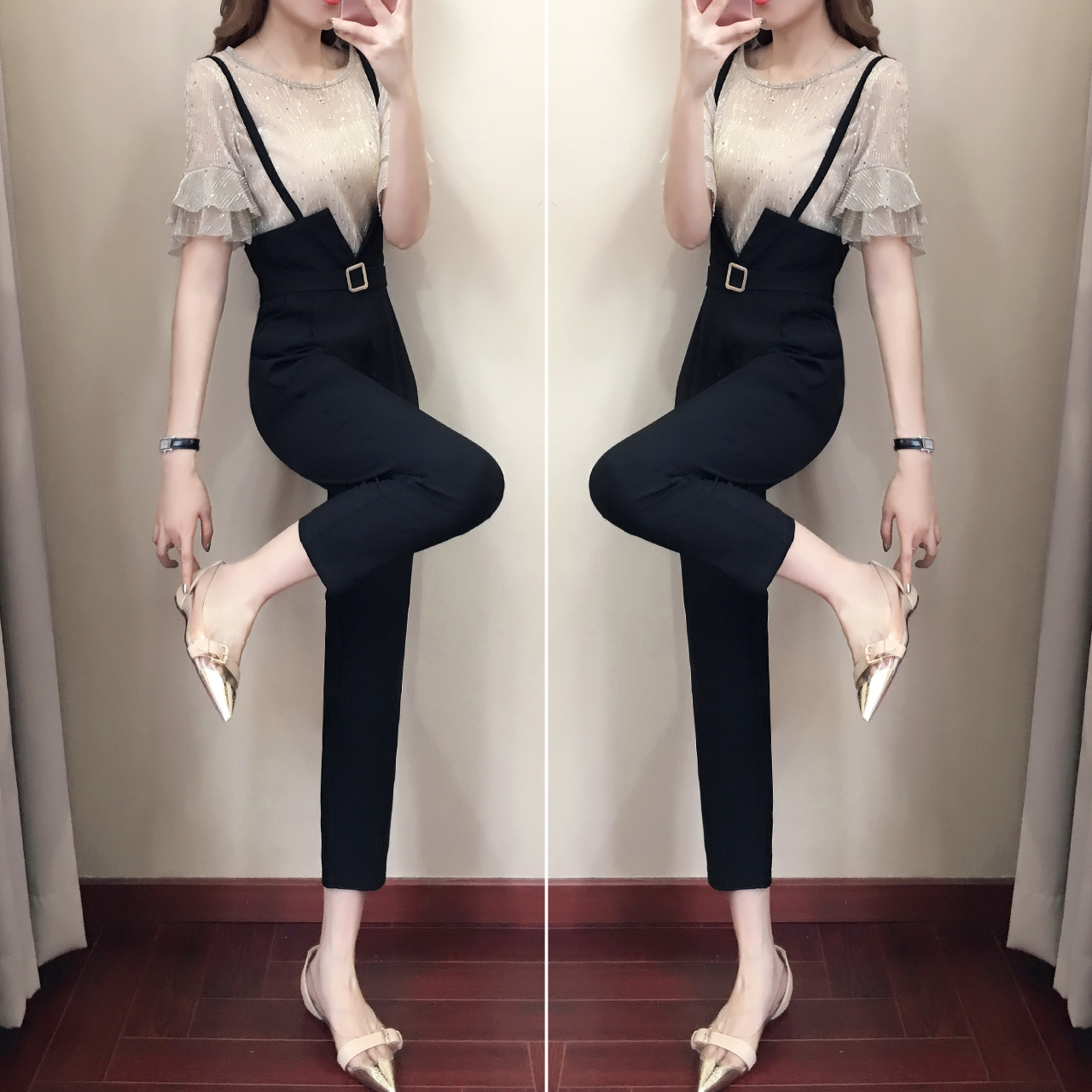 Casual women 2 pieces pant sets 2018 summer new fashion ruffles sleeved and black pencil pants lady clothing sets 2