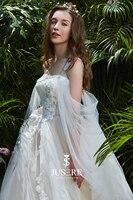 Chic High Neckline Seen through Cotton Lace Seen through Corset Tulle A Line Wedding Dresses