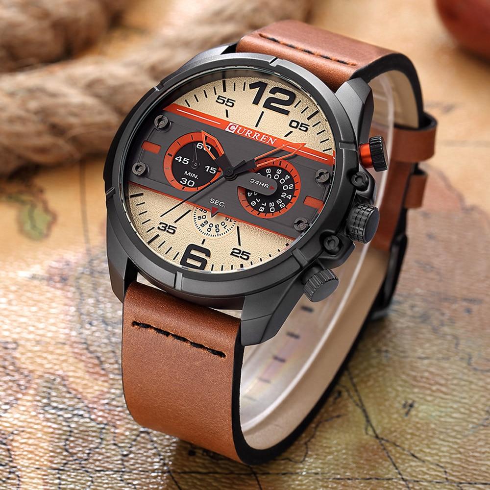 CURREN Brand Top Luxury Leather Men Watches Men Business Quartz Sport Watch Man Waterproof Relogio Masculino Relojes Hombre