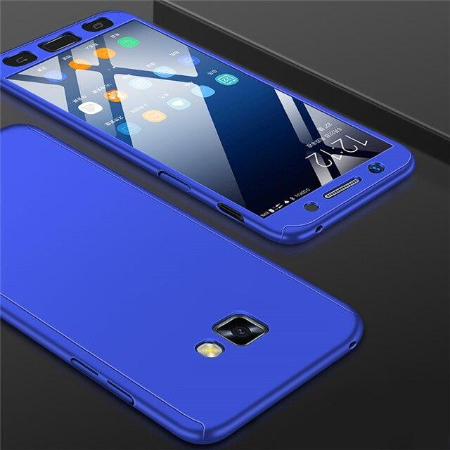 Модные 360 противоударный полное покрытие для samsung Galaxy A3 A5 J1 J3 J5 J7 J2 Prime A7 A6 A8 J4 J6 плюс чехол для телефона - Цвет: Синий