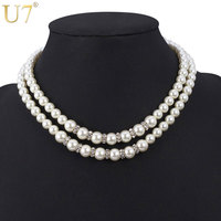 U7 Choker Necklaces Women Wedding Jewelry Trendy Mutil-layer Rhinestone Black/ White Simulated Pearl Necklaces N342