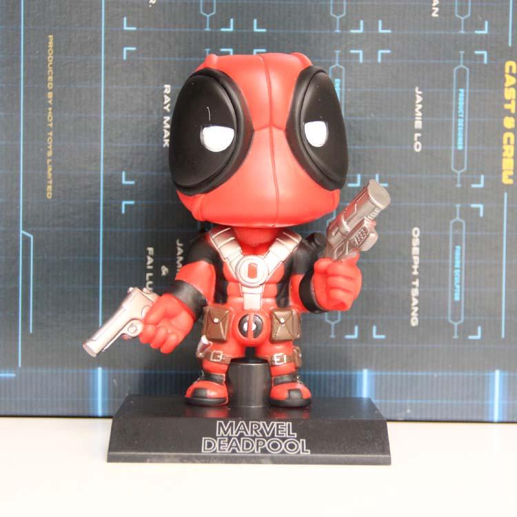 Marvel Super Hero Deadpool Wacky Wobbler Bobble Head PVC Action Figure Collectible Model Car Toy 5
