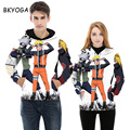 BKYOGA Fashion Cartoon 3D painting sweatshirt hoodies Front and different Color long sleeve Suit Hoodie Outside Unisex Sudaderas