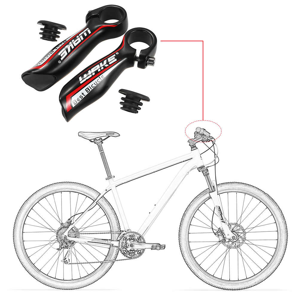 1 çift yol dağ bisikleti gidon boynuzları bisiklet gidon bisiklet Bar sonu bisiklet direksiyon karbon gidon Bar
