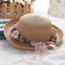 Flower Sun Hat Ladies Elegant Stylish Beach Fedora Womens Summer Spring Hawaiian Korean Style Bowknot Straw Hats