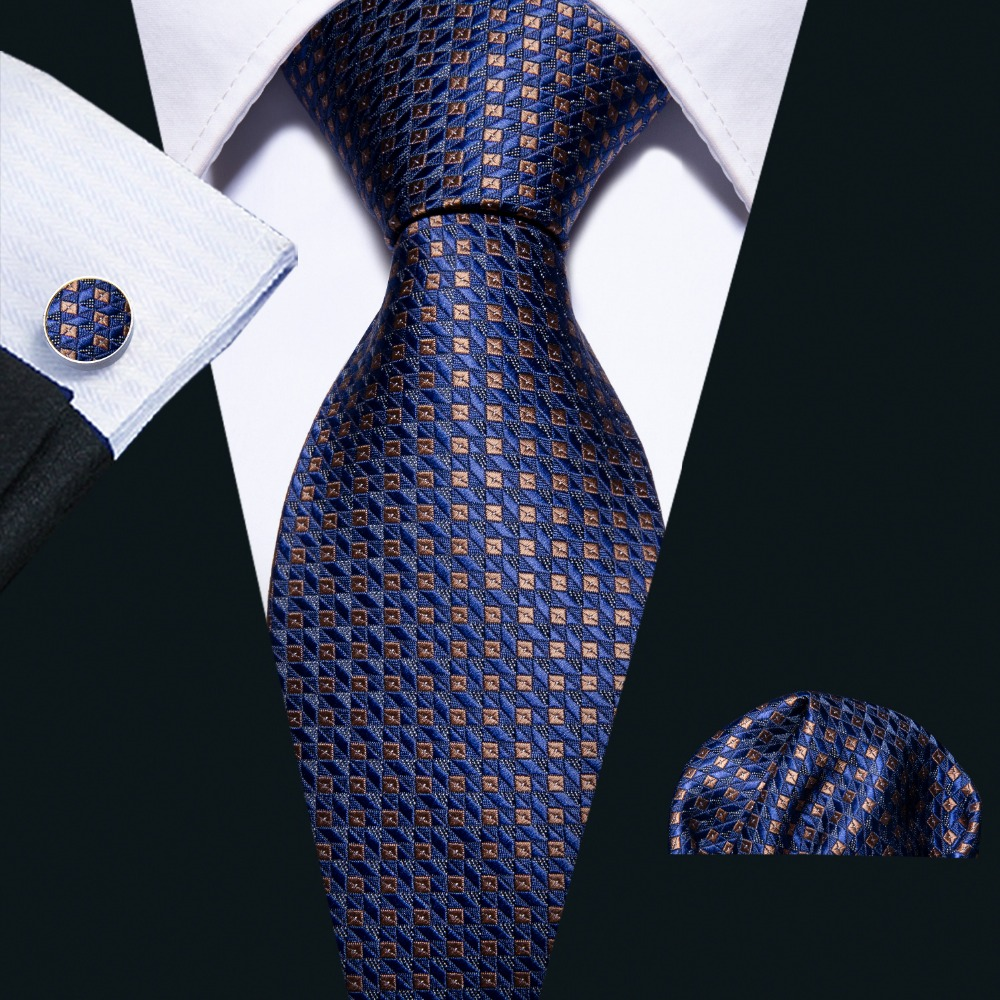 High Quality 16 Color Blue Geometric 100% Silk Men Tie Barry.Wang 8.5cm Woven Business Necktie Set Dropshipping Men Gift FA-5051