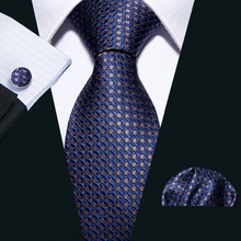 High Quality 16 Color Blue Geometric 100% Silk Men Tie Barry.Wang 8.5cm Woven Business Necktie Set Dropshipping Gift FA-5051