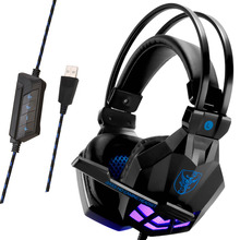 Soyto USB850 Stereo Gaming Headset 7.1 Virtual Surround Bass Gaming Earphone Headphone with Mic LED Light for Computer PC Gamer цена и фото