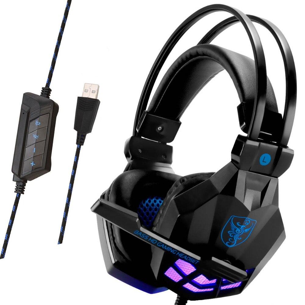 Soyto USB850 casque de jeu stéréo 7.1 Surround virtuel basse jeu écouteur casque avec micro lumière LED pour ordinateur PC Gamer