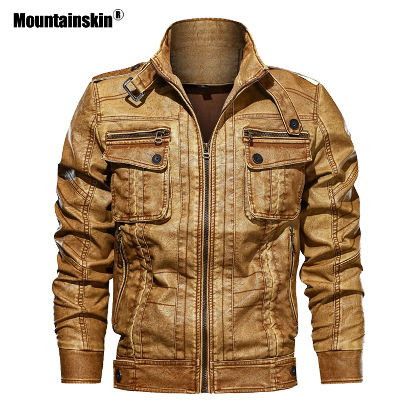 Mountainskin 2020 New Men's PU Jacket Winter Autumn Leather Coats Motorcycle Jackets Slim Fit Male Brand Clothing 6XL SA729