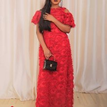 Sexy Red Elegant African Plus Size Party Autumn Women Long Dresses Off Shoulder Hollow Yellow Chic Female Fashion Maxi Dress