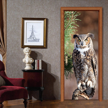 People Mascot Owls On Tree Branch Door Wall Stickers Sitting Room Bedroom Decals Living Home Decoration YMT050