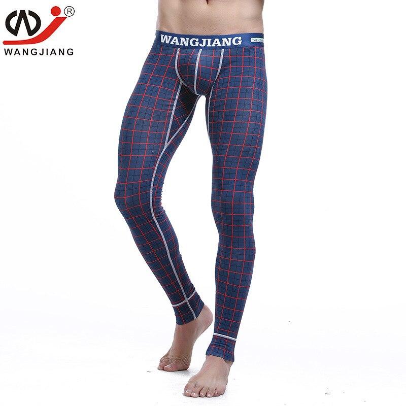 WJ Brand men long johns mens warm pants thin elastic line of mens fashion print sexy underwear cotton tight legging long Johns