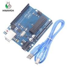 Высокое качество один набор UNO R3 официальная коробка ATMEGA16U2+ MEGA328P чип для Arduino UNO R3 макетная плата+ USB кабель