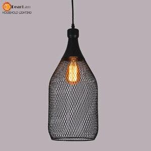 Image 4 - خمر الحديد زجاجة شكل قلادة مصباح e27 حامل مصباح داخلي الأسود قلادة الإضاءة ل بهو/مقهى/الطعام قاعة (DX 50)