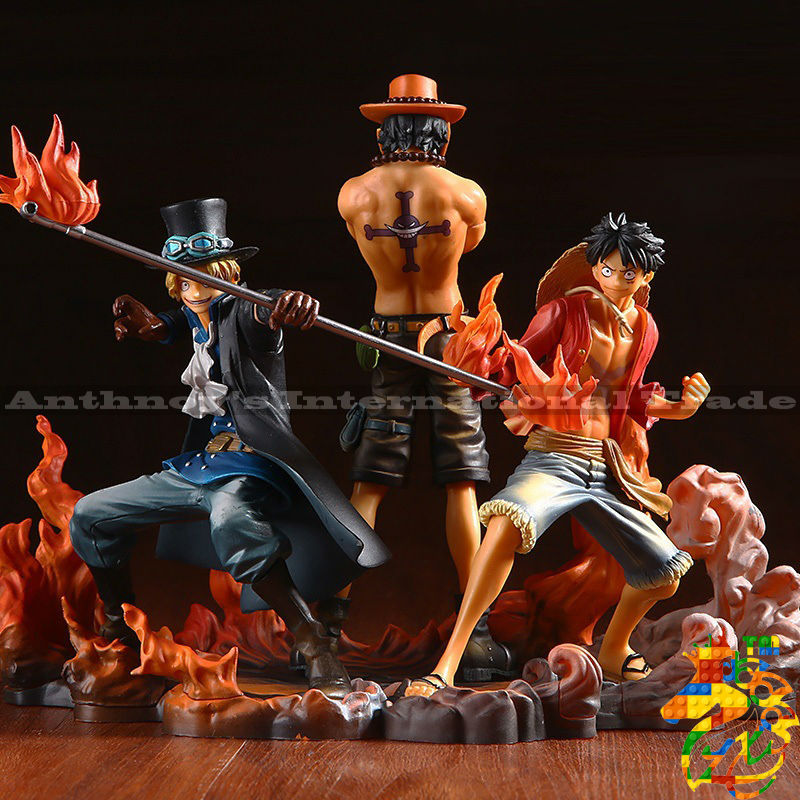 цены  ZXS One Piece Figure Ace Luffy Sabo Collectible Action Figure Japanese Anime Figure PVC Cartoon Figurine One Piece Toys Juguetes
