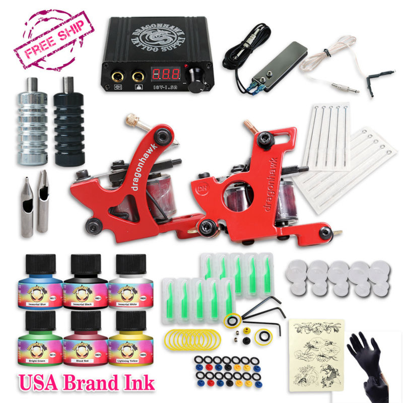Free cheap tattoo kit complete 2 tattoo machines 6 colors for Cheap tattoo ink