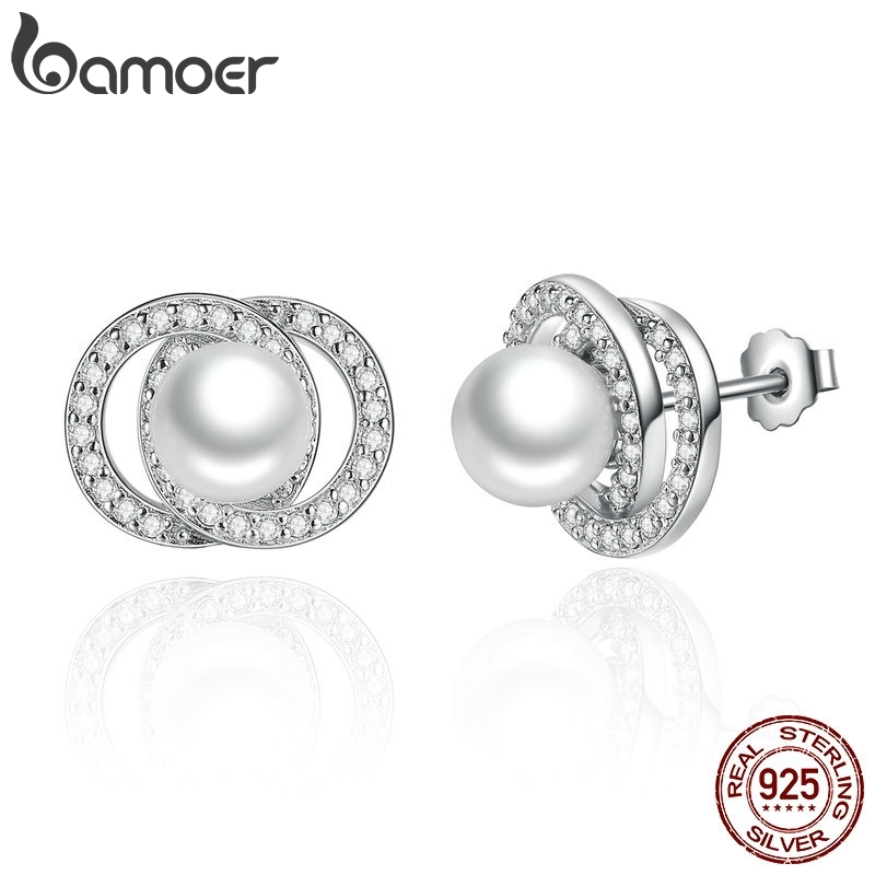 BAMOER Elegant 925 Sterling Silver White Pearl With Push-back Stud Earrings For Women Wedding Fashion Jewelry SCE020
