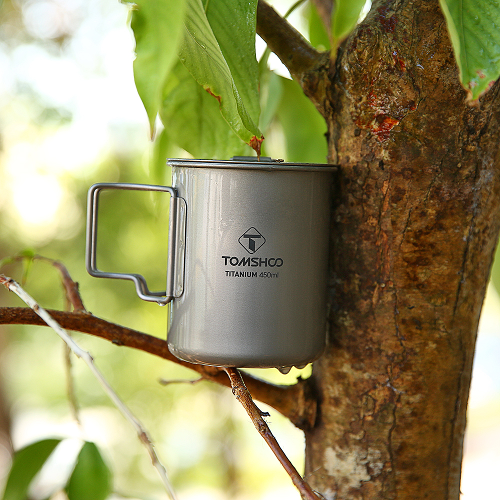Image 5 - TOMSHOO 450ml Titanium Cup Outdoor Water Cup Portable Camping Tableware Picnic Water Cup Mug with Lid Foldable Handle-in Outdoor Tablewares from Sports & Entertainment