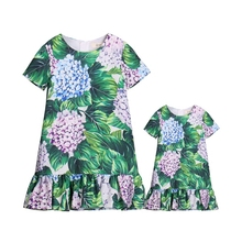 Summer brand slub satin children beach dress family matching outfits mom and baby girls dresses matching mother daughter clothes