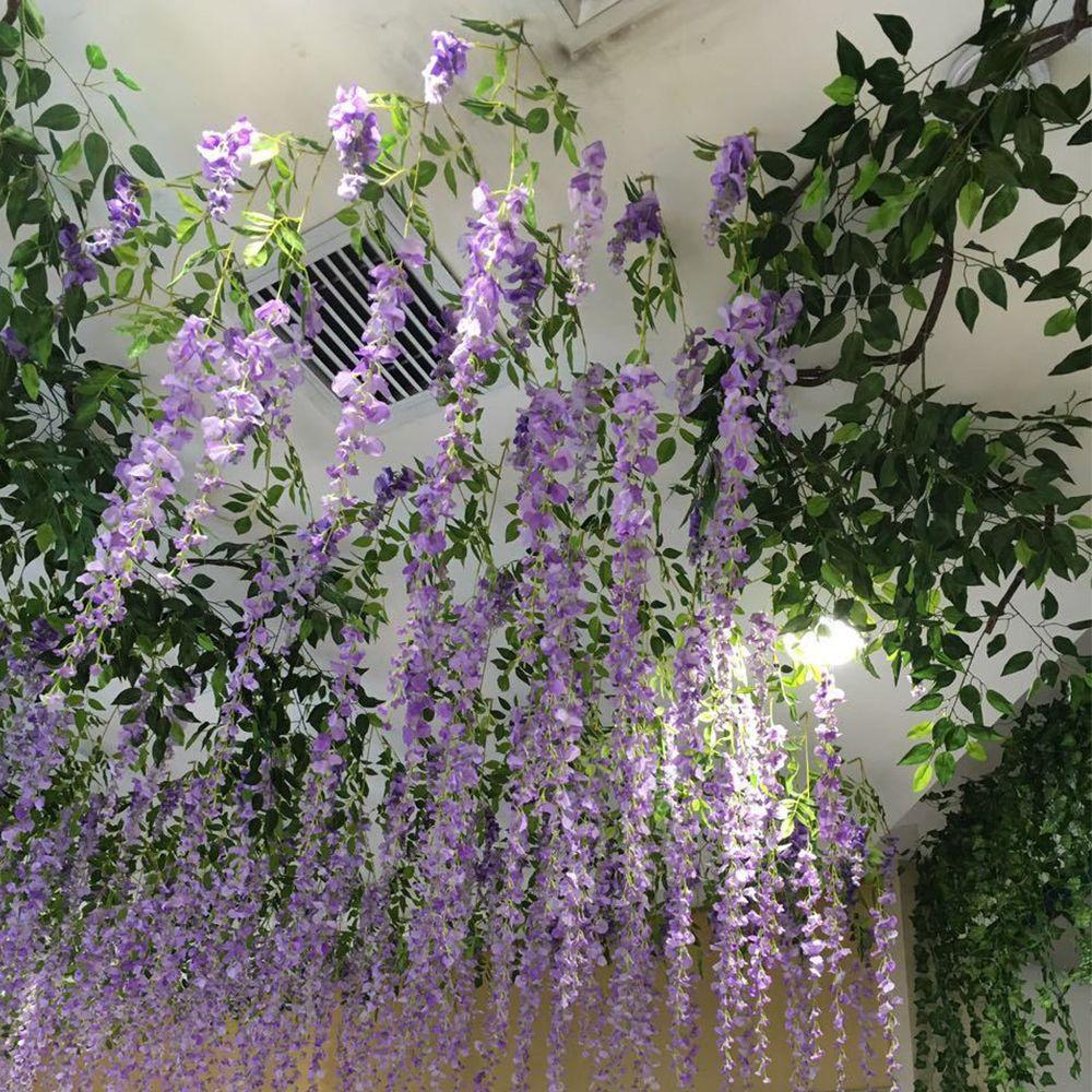Wedding Decor Silk Fake Flower Artificial Wisteria Bouquet